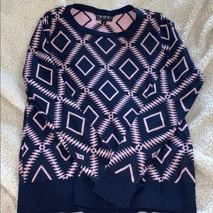 POL navy blue & pink small sweater